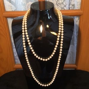 """Beaded Off White 28"""" Vintage Necklace"""